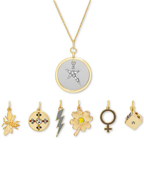 "Steve Madden Gold-Tone 8-Pc. Gift Set Pavé Charm Interchangeable Pendant Necklace, 16"" + 3"" extender"
