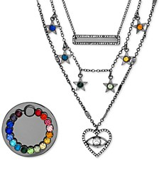 "Hematite-Tone Crystal Layered Pendant Necklace & Phone Ring Gift Set, 14"" + 3"" extender"