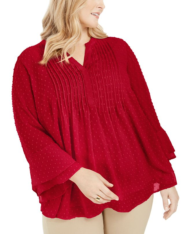 Charter Club Plus Size Double-Ruffle Textured Pintuck Top, Created for Macy's