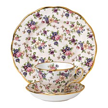 100 Years 1940 3-Piece Set, Teacup Saucer & Plate -English Chintz