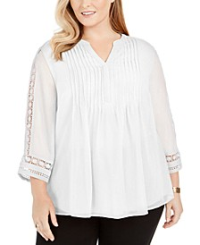 Plus Size Pintuck-Front Lace-Sleeve Top, Created For Macy's
