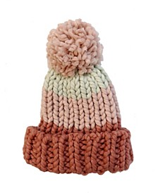 Colorblock Chunky Knit Beanie With Pom