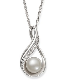 Cultured Freshwater Pearl (6-7 mm) and Diamond Accent Pendant in Sterling Silver