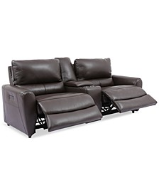 Danvors 3-Pc. Leather Sectional Sofa with 2 Power Recliners, Power Headrests, and Console