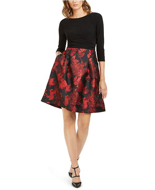 Jessica Howard Petite Solid & Floral Fit & Flare Dress