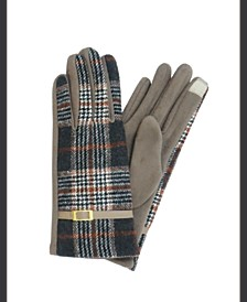 Plaid Jersey Touch Glove With Buckle