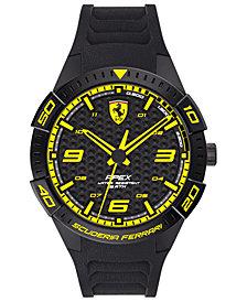 Ferrari Men's Apex Black Silicone Strap Watch 44mm