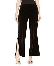 Embellished-Trim Velvet Pants