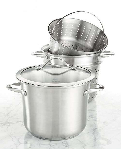 Calphalon Contemporary Stainless Steel 8-Qt. Covered Multi-Pot with Strainer & Steamer Inserts