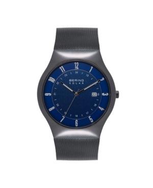 Men's Solar Powered Black Stainless Steel Mesh Bracelet Watch 40mm