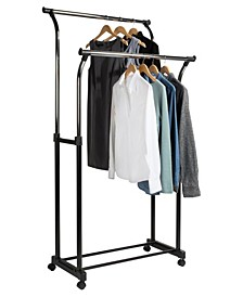 Home Solution Double Adjustable Rolling Garment Rack