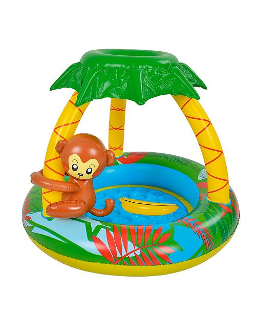 """Northlight 40"""" Inflatable Monkey with Palm Tree Sun Shade Baby Swimming Pool"""