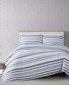 Curtis Stripe 3-Piece Comforter Set - Full/Queen