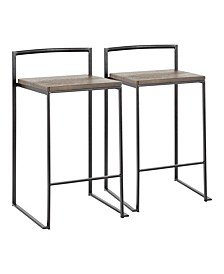 Fuji Wood Counter Stool, Set of 2