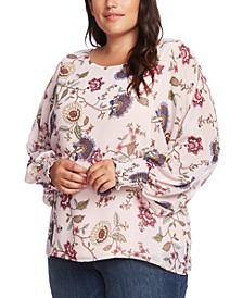 Plus Size Floral-Print Smocked Chiffon Blouse