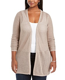 Plus Size Open Weave Cardigan Sweater