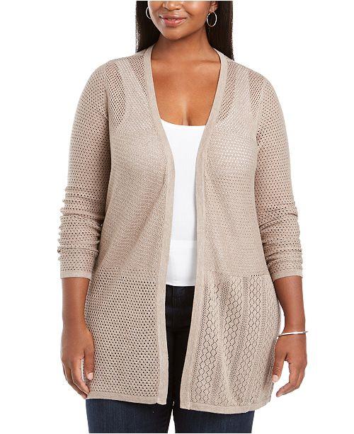 Belldini Plus Size Open Weave Cardigan Sweater