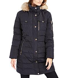 Michael Michael Kors Faux-Fur-Trim Hooded Down Puffer Coat, Created For Macy's