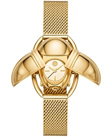 Women's Scarab Gold-Tone Stainless Steel Mesh Bracelet Watch 24x32mm