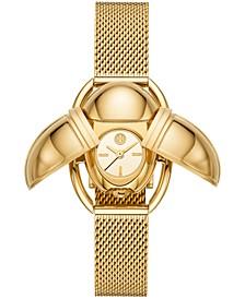 Women's Scarab Gold-Tone Stainless Steel Mesh Bracelet Watch 24x32mm