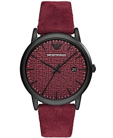 Men's Burgundy Leather Strap Watch 43mm