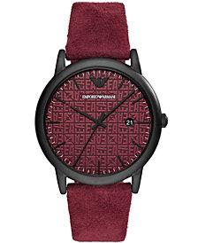 Emporio Armani Men's Burgundy Leather Strap Watch 43mm
