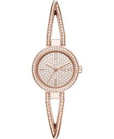 DKNY Women's Crosswalk Pavé Rose-Gold Tone Stainless Steel Bangle Bracelet Watch 26mm