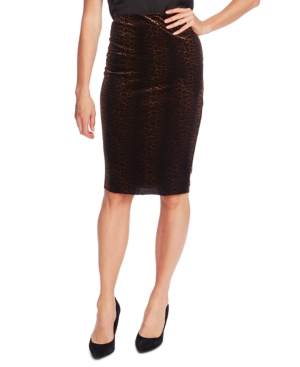 Vince Camuto Skirts VELVET ANIMAL-PRINT PENCIL SKIRT