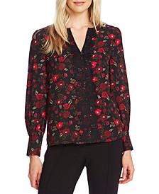Floral-Print Lace-Trimmed Blouse