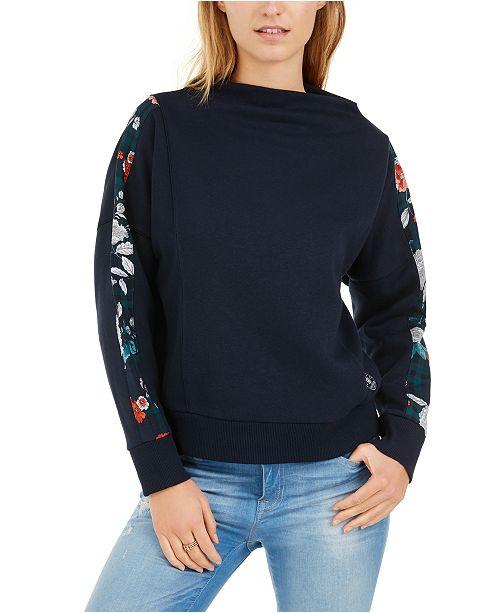 Tommy Hilfiger Floral-Trim Dolman Sweatshirt, Created For Macy's