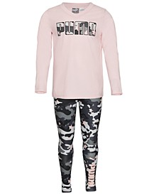 Little Girls 2-Pc. T-Shirt & Camo-Print Leggings Set