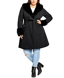 Trendy Plus Size Make Me Blush Faux-Fur-Trim Coat