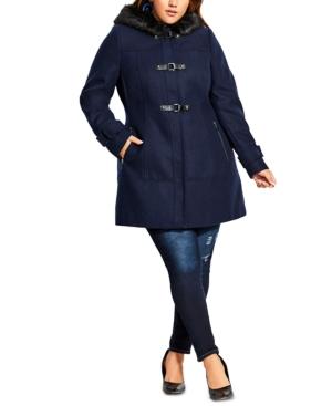 City Chic Coats TRENDY PLUS SIZE FAUX-FUR-HOOD COAT