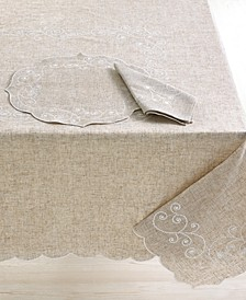 "French Perle Embroidered 70"" Round Tablecloth"