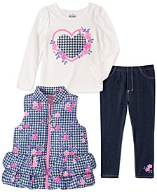 Little Girls 3-Pc. Houndstooth Vest, T-Shirt & Denim Leggings Set