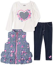 Kids Headquarters Toddler Girls 3-Pc. Houndstooth Vest, T-Shirt & Denim Leggings Set