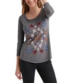 Lucky Brand Botanical Mandala 3/4 Sleeve T-Shirt