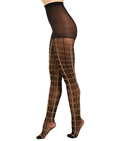I.N.C. Women's Windowpane-Plaid Tights, Created For Macy's