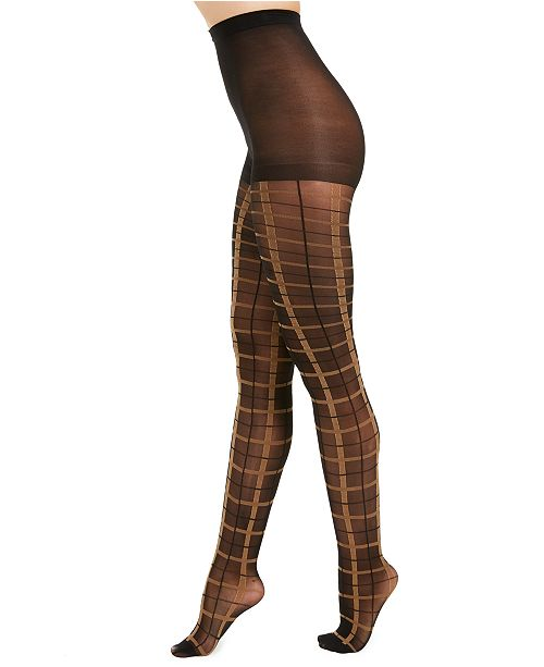 INC International Concepts I.N.C. Women's Windowpane-Plaid Tights, Created For Macy's