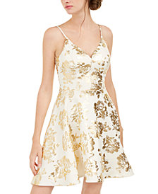 B Darlin Juniors' Metallic-Print Scuba Dress