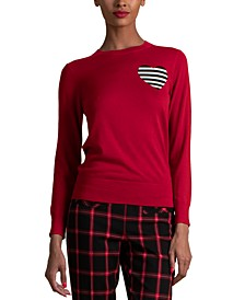 Wool Striped-Heart Sweater