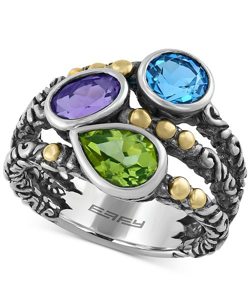 EFFY Collection EFFY® Multi-Gemstone (2-5/8 ct. t.w.) Ring in Sterling Silver and 18k Gold Over Sterling Silver