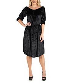 24seven Comfort Apparel Women's Off Shoulder Knee Length Velvet Dress