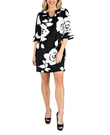 Women's Elbow Length Sleeve Shift Dress