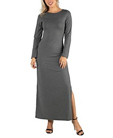 Women's Form Fitting Long Sleeve Side Slit Maxi Dress