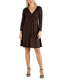 Women's Knee Length Long Sleeve Wrap Dress