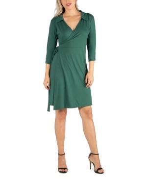 24seven Comfort Apparel Womens Knee Length Collared Wrap Dress