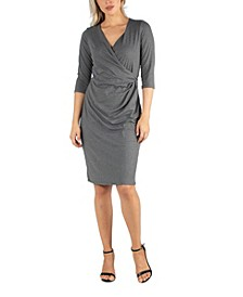 Women's Three Quarter Sleeve Knee Length Wrap Dress
