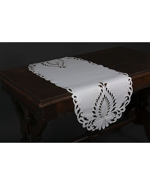 """Xia Home Fashions Wilshire Embroidered Cutwork Table Runner, 16"""" x 36"""""""