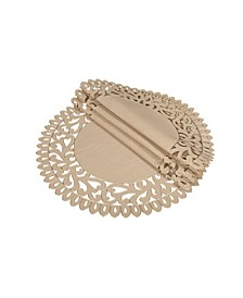"Vine Embroidered Cutwork Round Placemats, 16"" Round, Set of 4"